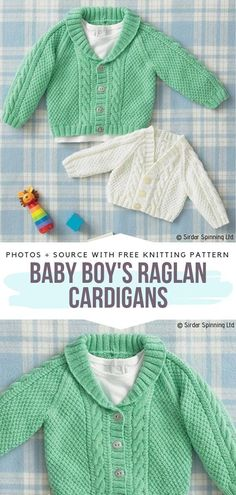 Baby Boy's Raglan Cardigans Free Knitting Pattern This Adorable Cardigan - baby boy's raglan cardigans kostenloses strickmuster diese entzückende strickjacke - les cardigans raglan de bébé garçon tricotent gratuitement cet adorable cardigan Baby Boy Knitting Patterns Free, Baby Sweater Patterns, Knitting For Kids, Baby Patterns, Free Knitting, Free Crochet, Crochet Patterns, Cardigan Pattern, Shawl Patterns