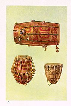 "Hipkins Musical Instruments - ""Indian Drums"" - Stipple Chromolithograph - 1923"