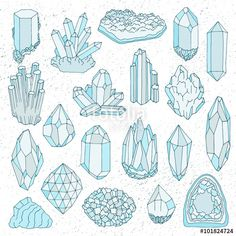 Vector: Hand drawn line  crystal, mineral, gem