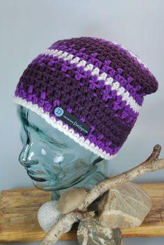 Mütze Beanie rot - violett - beige / weiss von DaiSign auf DaWanda.com  wunderbare Beanie - Mütze - Wollmütze - Wintermütze - Häkelmütze - Strickmütze - Skimütze