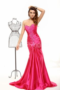 Pretty Shallow Sweetheart Neckline A-line Floor Length Hot Pink Pageant Dresses For Women at fancyflyingfox.com