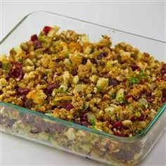 This is probably my favorite stuffing. I add a cup of spiced apple wine for the extra kick and to add moisture because I bake it outside of the bird (I feel safer with just putting aromatic veggies in my turkey.) I also omit the liver because I'm too lazy to search through giblets. I used a homemade rosemary and sage herb bread last year, came out extremely well.