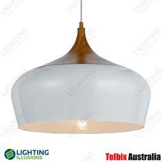 Large Polk White Metal Oak Shade Pendant Light