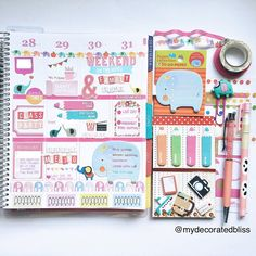 Right side of my Erin Condren Life Planner page this week. loens #mydecoratedbliss