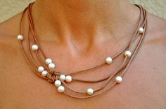 Pearl and Leather Natural Reef Knot Necklace  by ChristineChandler, $139.00