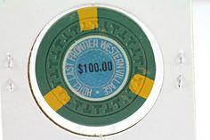 1951 SILVER SLIPPER - LAST FRONTIER LAS VEGAS GAMBLING CHIP $100 1st ISSUE / R-4