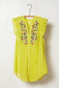 bright lime threadbloom blouse with delicate embroidered flowers from anthropologie