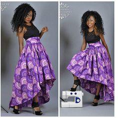 High Low Maxi skirt African print skirt Full skirt by FashAfrique African Fashion Skirts, African Print Fashion, Tribal Fashion, African Prints, African Attire, African Wear, African Dress, African Style, Kids Dress Patterns