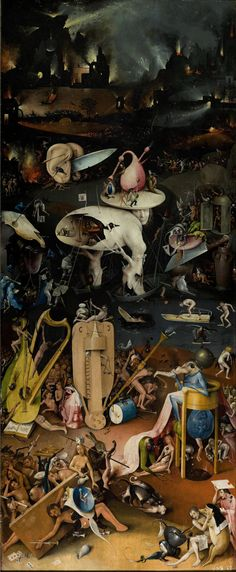 Hieronymus Bosch The Garden of Earthly Delights Hell. Bosch depicts a world in which humans have succumbed to temptations that lead to evil and reap eternal damnation. The tone of this final panel strikes a harsh contrast to those preceding it. Garden Of Earthly Delights, Poster Prints, Art Prints, Poster Poster, Renaissance Art, Art Plastique, Dark Art, Les Oeuvres, Painting & Drawing