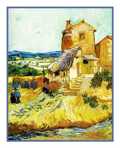 The Old Mill inspired by Impressionist Vincent Van Gogh's Painting Counted Cross Stitch or Counted Needlepoint Pattern