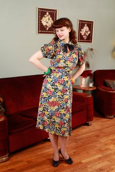 Vintage 1930s Dress - Gorgeous Multicolored Floral Dress with Bow and Mesh Shoulders - Menagerie
