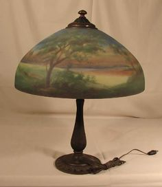 Jefferson reverse painted lamp c.1920...looks just like my father's mother's lamp my Christmas tree took out on December 10, 2000.