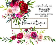 Watercolor Floral Clipart Red Purple Pink Burgundy Roses Peonies Flower Bouquets…