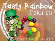 """Tasty Rainbow"" from ""St. Patrick's Day Science."" Five investigations... so much engaging, hands-on, smart fun! ($) #stpatricksday #science"