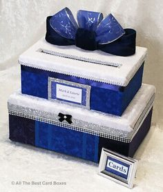 Blue Wedding Card Box,fabric,2 tiers,silver,navy,bling,custom,holds 80 cards | eBay Blue Weddings, Country Weddings, Winter Weddings, Card Box Wedding, Bling Wedding, Wedding Designs, Wedding Ideas, Wedding Decor, Bat Mitzvah Gifts