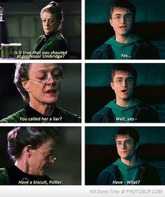 HP Challenge Day 7: Your favourite female character and why? Minerva McGonagall. She's always fair but at the same time strict. And she's the perfect Gryffindor. And she can turn in to a cat. :D