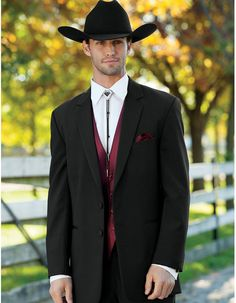 Classic Western Cowboy Tail Tuxedo in Black. All you need is to put on a hat, and throw on your bolo tie and you'll be good to go! Pants come 6 inches smaller than jacket, and can adjust 2 inches out or 4 inches in. #PromTuxedo #Tuxedo #BlackTuxedo #WeddingTuxedo #PromTux #WeddingTux #Tux #Wedding #Prom