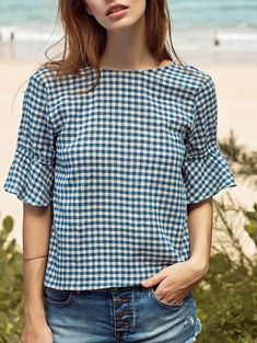 Ruffle Sleeve Low Back Gingham Top Casual Dress Outfits, Trendy Dresses, Nice Dresses, Dresses With Sleeves, Work Outfits, Short Tops, Ruffle Sleeve, Blouse Designs, Shirt Blouses