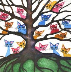 Cats in Trees Artwork No.4 by Lori Alexander #straycatart ♥•♥•♥