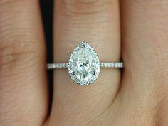 1.22ct D-VVS2 Pear Shape Diamond Engagement Ring GIA certified Platinum Halo JEWELFORME BLUE