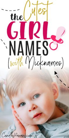 A list of the beautiful baby girl names with cute nicknames to match! Find the perfect unique baby girl name with a nickname you'll love. There's a mix of uncommon and rare baby names and more… Baby Middle Names, Cool Baby Girl Names, Beautiful Baby Girl Names, Strong Baby Names, Rare Baby Names, Unisex Baby Names, Latin Girl Names, Hebrew Girl Names, Old Fashioned Baby Names