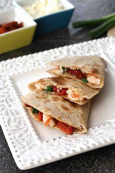 Shrimp, Sun-Dried Tomato & Feta Quesadilla Recipe - Will need to substitute the tortilla with a veggie wrap but it looks delicious