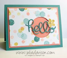 AW41: Hello...Goodbye Color Challenge Card with Hello You Thinlits #stampinup www.juliedavison