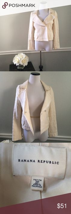 "Banana Republic Ivory Blazer jacket Beautiful ivory colored blazer from BR. Textured and has a ribbon like trim. Excellent, like new condition. Size 2p. Cotton and rayon. Length 21"". Chest 34"". Dry clean. Banana Republic Jackets & Coats Blazers"