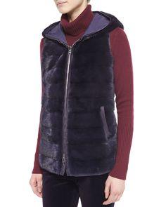 Loro Piana at Neiman Marcus Mink Vest, Mink Fur, Faux Fur Vests, Casual Outfits, Turtle Neck, Skinny Jeans, Clothes For Women, Coat, Womens Fashion