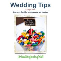 A wedding need not cost the earth. @weddinghashtagwall we love this fun Lego idea. People  remember something different - and  have fun during the speeches!!   WeddingHashtagWall wants you to  remember too - we provide a memory wall  that all your friends can join in with, via  Instagram and Twitter. Try it out - its free.