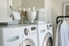 Look Forward to Laundry Day With These Clever Storage Ideas Use jars to keep laundry supplies looking prettygoodhousemag Small Laundry Rooms, Laundry Room Organization, Laundry Storage, Closet Storage, Storage Shelves, Laundry Tips, Vinegar In Laundry, Laundry Detergent, Laundry Supplies