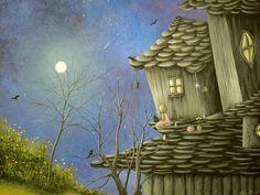 Fantasy Cottage Fairytale Art By Philippe Fernandez Painting - As Nightfalls. Fantasy Cottage Fairytale Art By Philippe Fernandez Fine Art Print Art Prints, Original Paintings, Surreal Art, Fantasy Art, Painting, Surreal Artwork, Whimsical Art, Fairytale Art, Beautiful Art