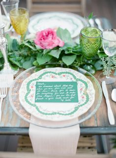 Green vintage inspired table decor: http://www.stylemepretty.com/2015/11/07/vintage-inspired-family-style-rooftop-rehearsal-dinner/ | Photography: Amanda Watson - http://amandawatsonphoto.com/