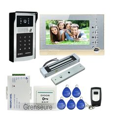 """191.08$  Watch now - http://ali949.worldwells.pw/go.php?t=32749009509 - """"FREE SHIPPING 7"""""""" LCD Screen Record Video Intercom Door Phone Kit Outdoor RFID Code Keypad Doorbell Camera 8G SD + Magnetic LOCK"""""""