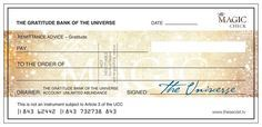 The secret to this Magic Check is gratitude! Feel grateful for the money as though you already have it, and imagine yourself spending it on something in particular that you really want!