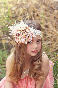 Pink ivory and gold satin & lace headband  by ClairebowBaby