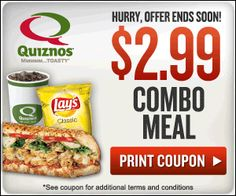 Yummy Quiznos $2.99 meal deal printable coupon!  #mealdeal #quiznosdeal #meal #momblog #mommyblogger #sahd #sahm http://my3sonsmomblog.blogspot.com/2012/05/quiznos-combo-meal-deal-only-299.html