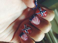 rebel flag nails, love it!