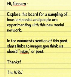 We'd love your input. Share links to what you think represents how companies and people are using Pinterest.