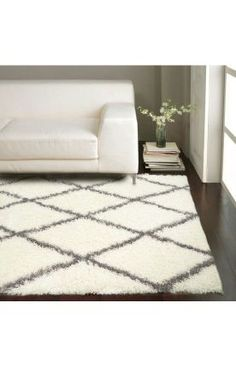 Moroccan Diamond Shag Grey Rug- sophisticated living room paired with white and grey decor