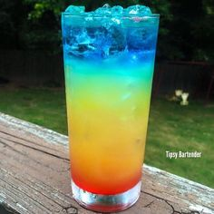 ▃▃▃▃▃▃▃▃▃▃▃▃▃▃▃▃▃▃▃▃▃▃▃▃ TASTE THE RAINBOW ½ oz. (15 ml) Grenadine 3 oz. (90 ml) Pineapple Juice ½ oz. (15 ml) Peach Schnapps 1 oz. (30 ml) Vodka ½ oz. (15 ml) Blue Curacao Instagram Photo Credit: @letsturnup Post your original recipe and photo on...