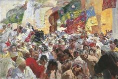 The Athenaeum - Parade of the Troops and Slaves at the Gates of the City (Joaquin Sorolla y Bastida - ) Kandinsky, Oriental, City Painting, Spanish Painters, Expo, Portrait, Sketches, Hand Painted, Landscape