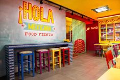 Hola Mexicana - KaputDesign Mexican Restaurant Design, Colorful Restaurant, Small Restaurant Design, Pop Up Restaurant, Restaurant Interior Design, Restaurant Ideas, Pop Art Design, Cafe Design, Coffee Restaurants