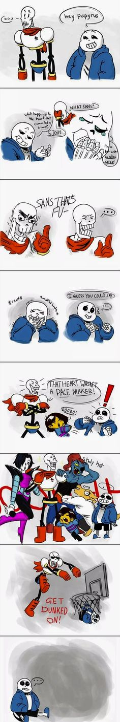 Sans gets pun by papyrus, Mettaton Alphys Frisk Undyne get dunked on