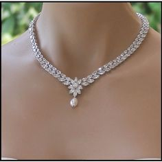 Crystal Bridal Necklace, Crystal Necklace, Pearl Drop Necklace,... (2,215 EGP) ❤ liked on Polyvore featuring jewelry, necklaces, crystal drop necklace, crystal necklace, wedding jewellery, bride jewelry and white pearl necklace