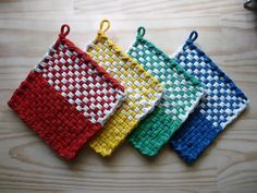 Rainbow of Colors Red Yellow Green Blue White Colorblock Check Woven Cotton Loop Loom Potholders Vintage Colorful Kitchen Farmhouse Style