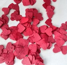 Plantable Seed Paper Hearts - diy wedding favors, place cards, save the date cards, creative invitations on Etsy, $32.69 CAD