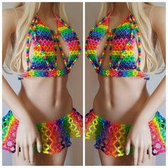This Kandi outfit is made with pony beads and perler beads. Womens size kandi bra A-D cup Kandi skirt is made to order in your size. Includes 1 kandi bra 1 kandi skirt 1 kandi garter This Item is made to order in your size. Festival Skirts, Festival Outfits, Edm Outfits, Cool Outfits, Crochet Clothes, Diy Clothes, Rubber Band Crafts, Kandi Patterns, Stitch Patterns