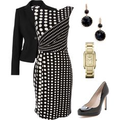 """B/W Polka Dot Dress w/Jacket"" by nancyshops on Polyvore"