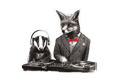 DJ Crafty Fox & MC Badger Print | Jimbob Art | Wolf & Badger